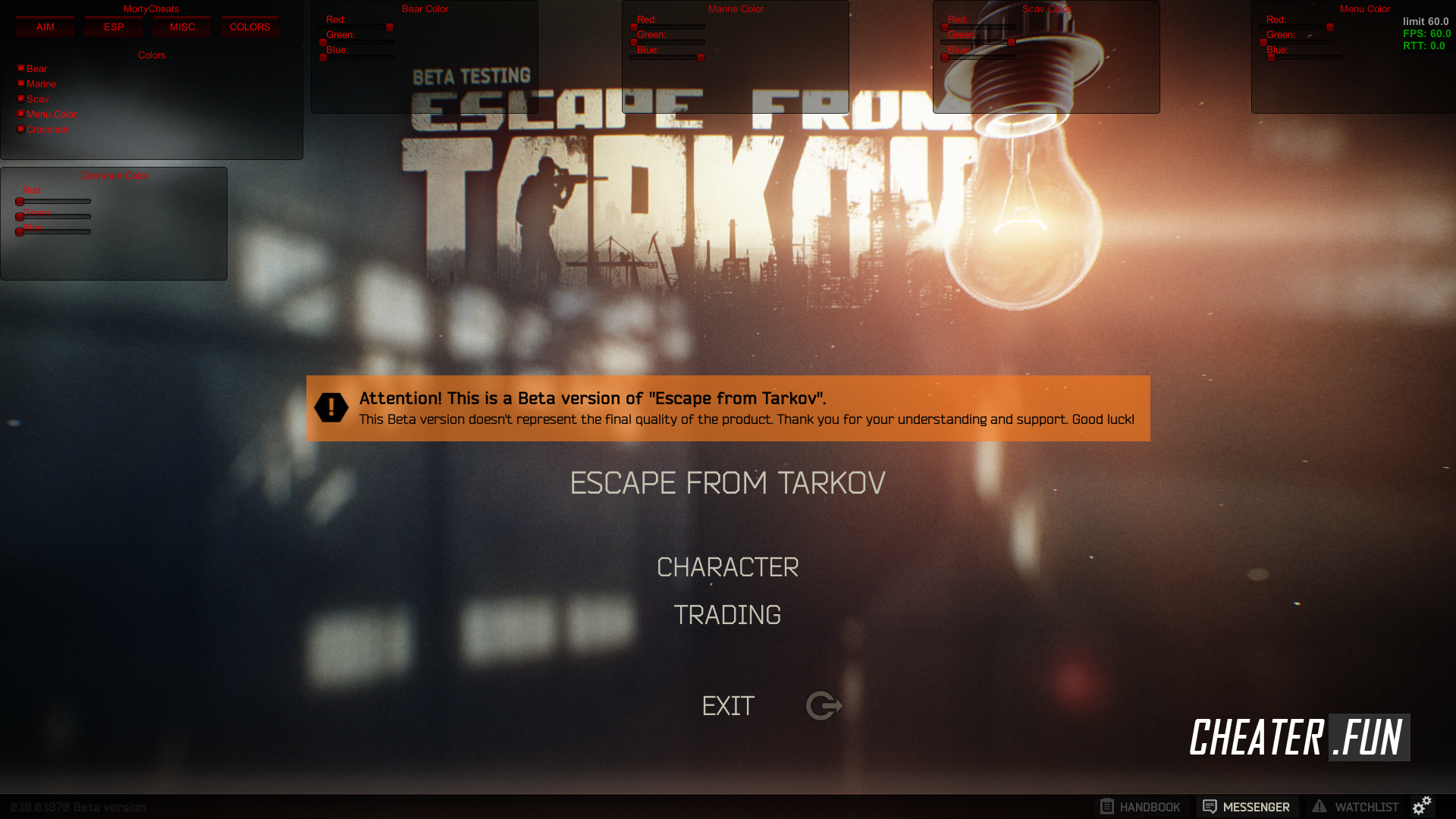Download free cheat for Escape from Tarkov MortyCheats EFT - AIM/ESP