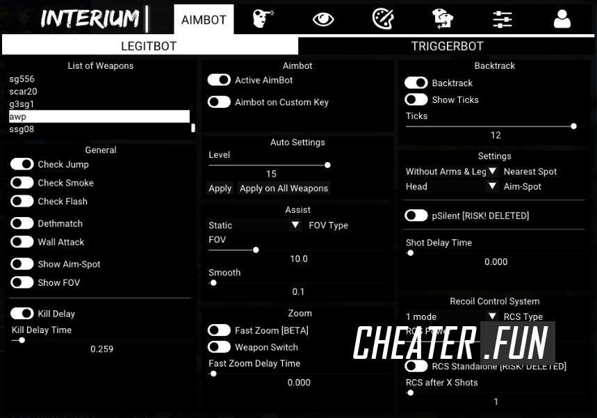 Download cheat for CS:GO Interium - WH, AIM, SKINCHANGER, TRIGGERBOT